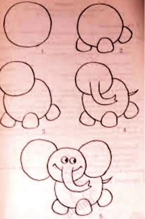 تعليم الرسم للاطفال فيل سهلة بالرصاص