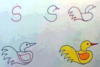 رسم بطة جميلة للأطفال من حرف S