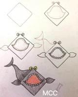 رسم سمكة القرش بالخطوات
