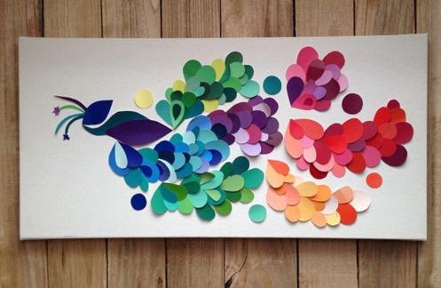 اعمال فنية بالورق الملون طاووس