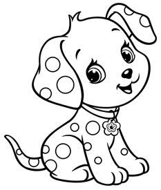 رسومات اطفال للتلوين حيوانات كلب بسيط وسهل