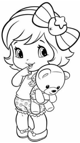 رسمة طفلة صغيرة جميلة للتلوين