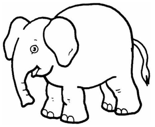 صور حيوانات تلوين فيل بسيط للصغار