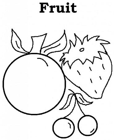 فاكهة للتلوين فراولة كرز تفاح