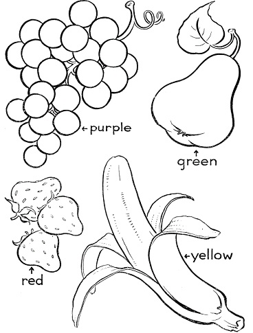 رسومات فاكهة ، موز ، عنب ، فراولة ، كمثرى