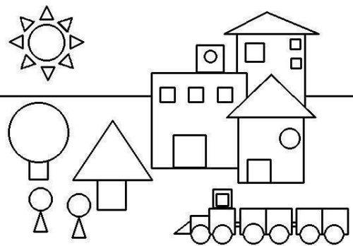 رسمات سهلة بالأشكال الهندسية للتلوين