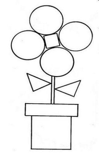 رسمة جميلة بالأشكال الهندسية للتلوين للأطفال