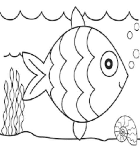 رسومات أطفال تعليمية ملونه سمكة