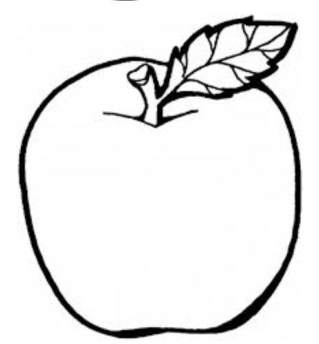 صورة فاكهة التفاح مفرغة للتلوين