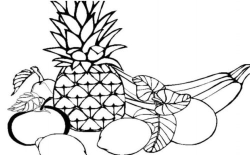 رسومات فواكه أناناس وموز وليمون