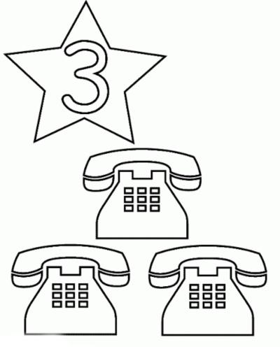 رسومات جميلة للاطفال الصغار هاتف للتلوين ورقم ثلاثة 3