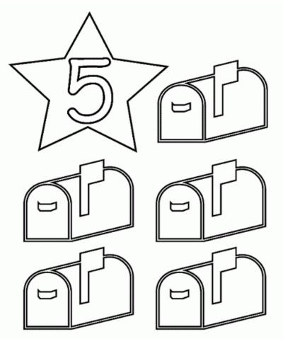رسم جميل للاطفال وبسيط تلوين رقم 5 خمسة