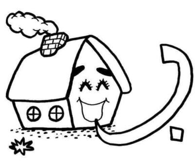 رسم اطفال سهل باء بيت للتلوين