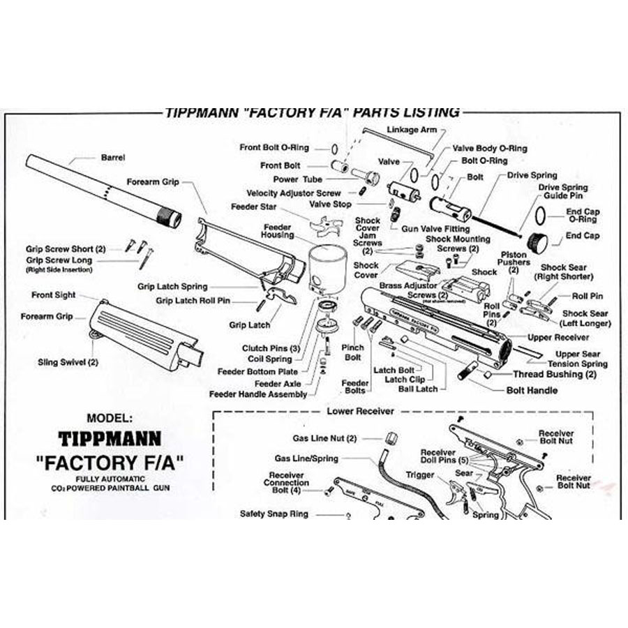 Tippmann Factory FA Paintball Gun Repair Parts