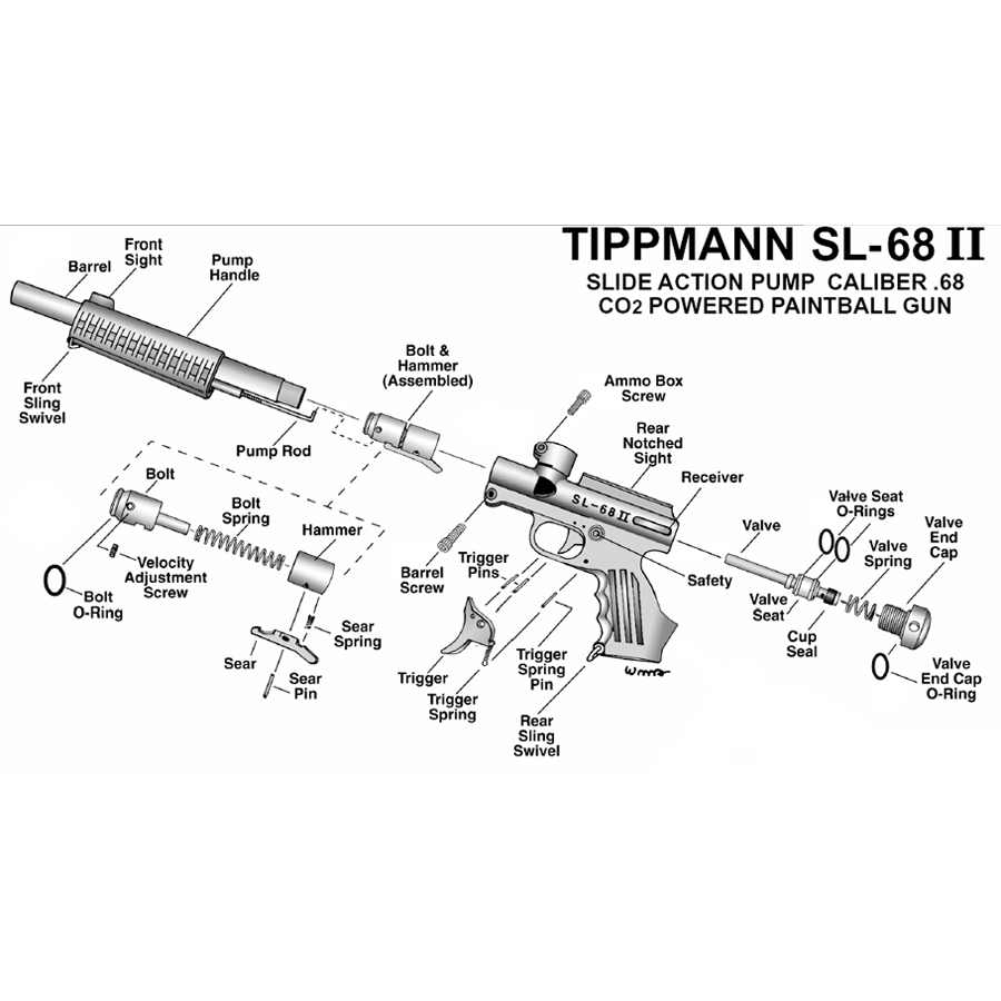 Tippmann SL-68 II Gen 1 Paintball Gun Repair Parts
