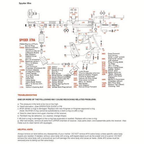 Kingman Spyder Xtra Gun Manual