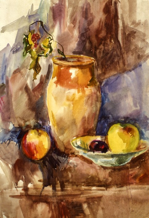 Still-Life image of vase, bowl and fruit