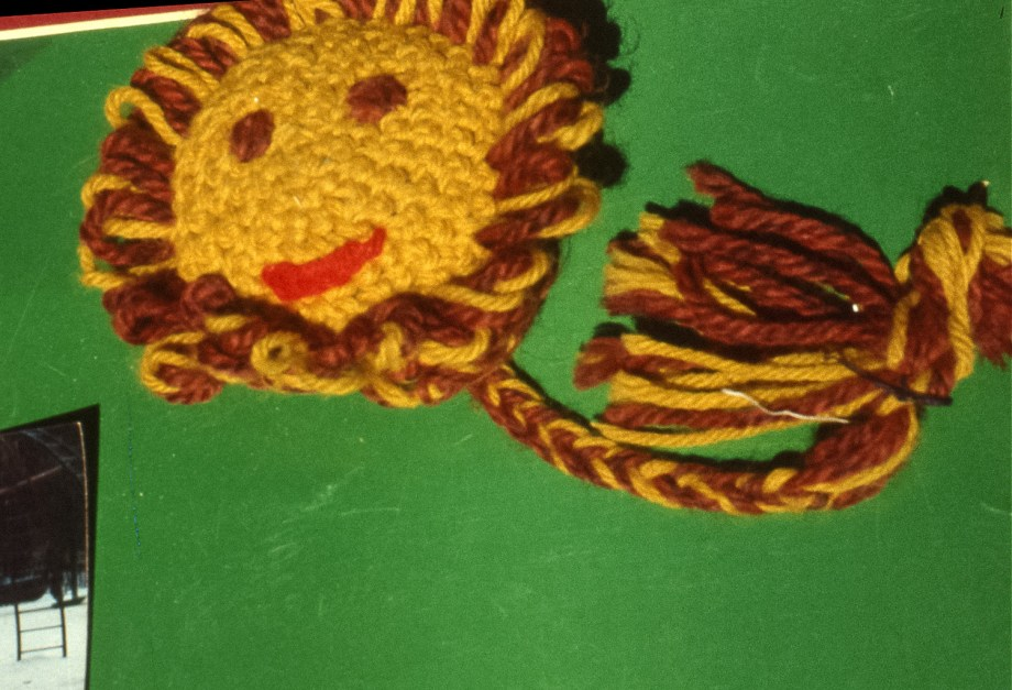 Image of a sunflower made from yarn