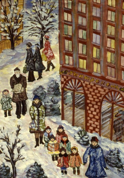 Image of people on snow-covered sidewalk in city