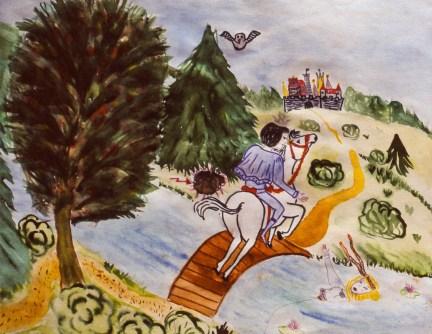 Image of Prince on horseback saving a drowning princess from a bridge