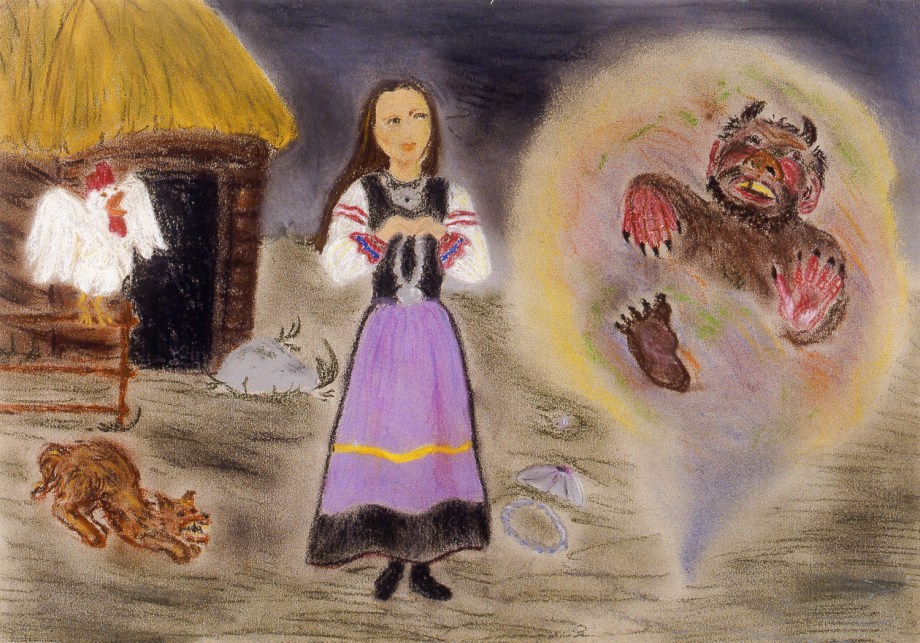 Image of fairytale scene showing a gremlin appearing in a barnyard to a young girl