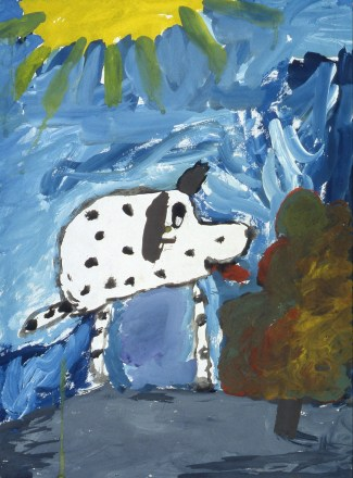 Image of white dog with black spots