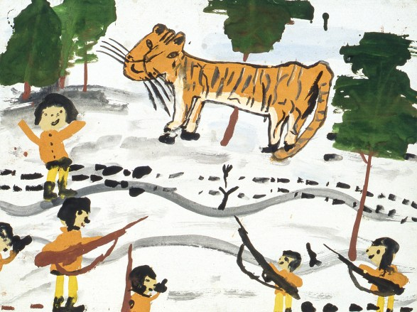Image of children and tiger in snowscape