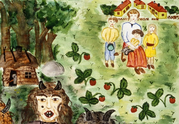 Image of a Russian family in the woods surrounded by monsters - a fairytale?
