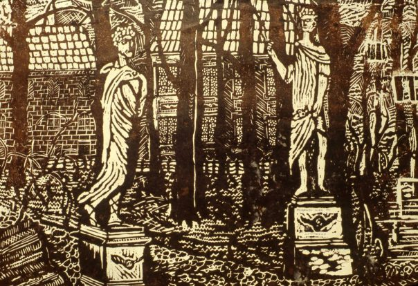 Image of two Roman statues in a garden