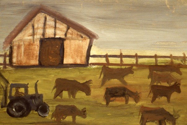 Image of tractor and animals in front of barn
