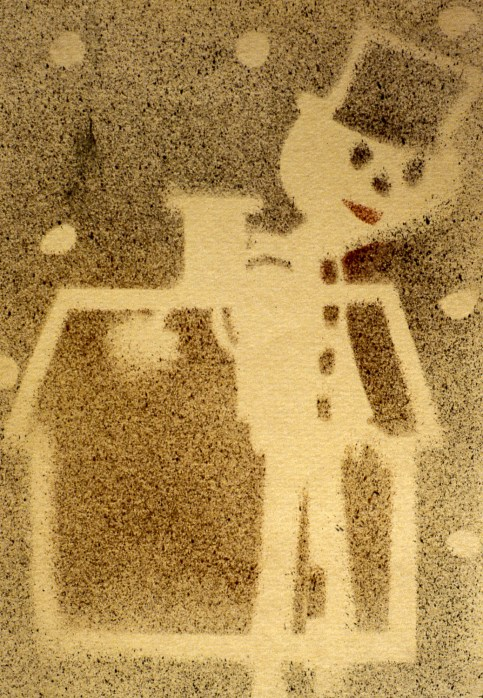 Image of skinny, abstract snowman in front of a house