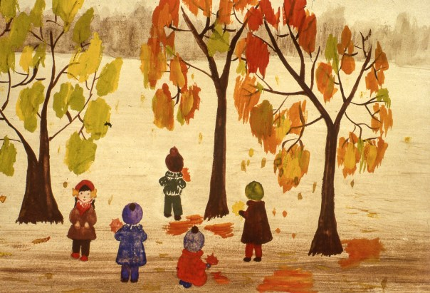Image of children under trees in autumn