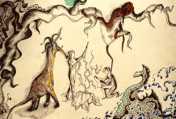Surrealistic scene showing monsters and dragons