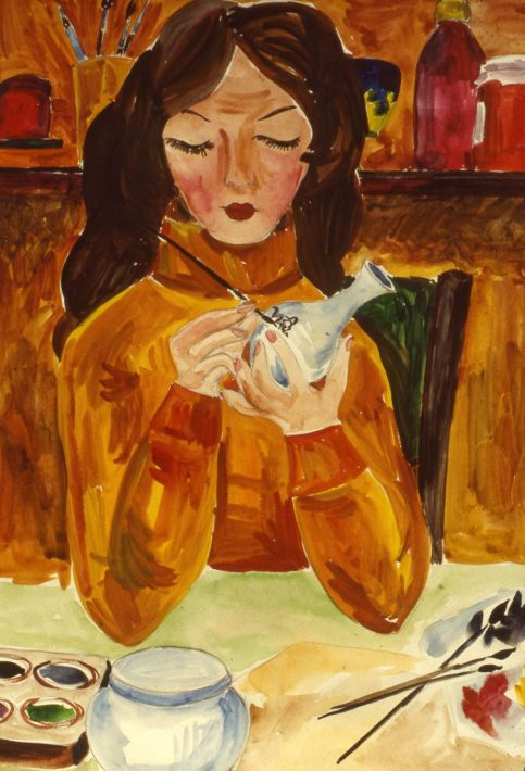 Image of woman painting a flower pot