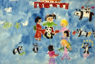 Image of children and pandas