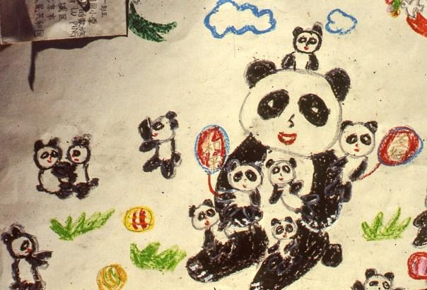 Image of a panda family