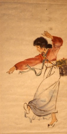 Painting of young girl dancer performing