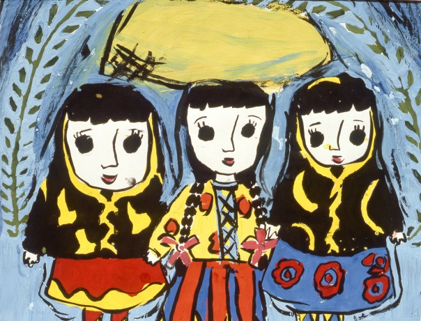 Three young girls in traditional dresses