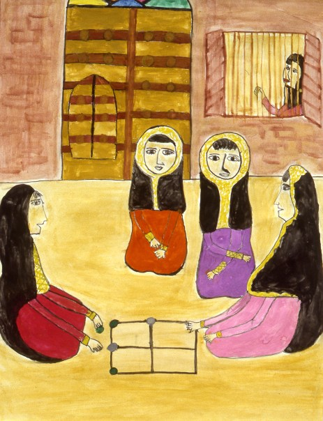 Image of 4 women seated on the ground playing a traditional board game