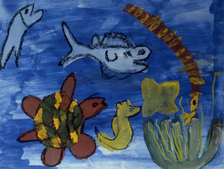 Painting of fish and other life under the sea