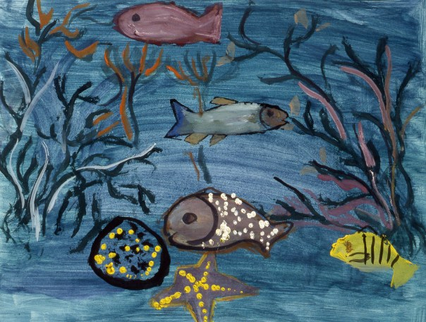 Painting of fish and other life forms at bottom of sea