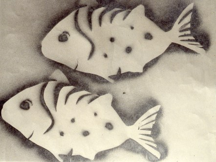 Stencil image of two fish, giving image of soft shadow