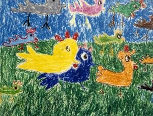 Image of hens running around