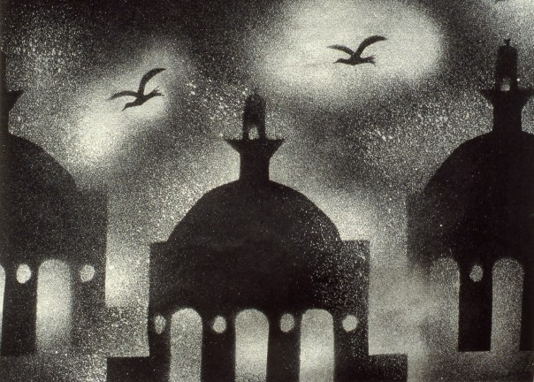 Stencil image of mosque-like buildings at night