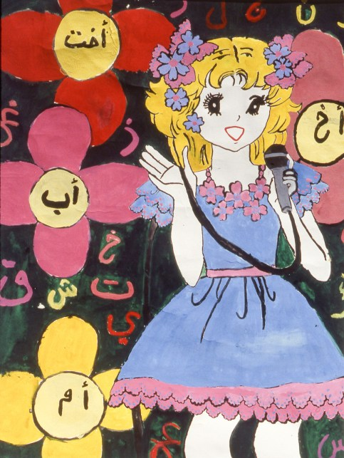 Painting of young girl with microphone singing on stage