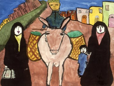 Painting of small family with their donkey hauling goods in baskets