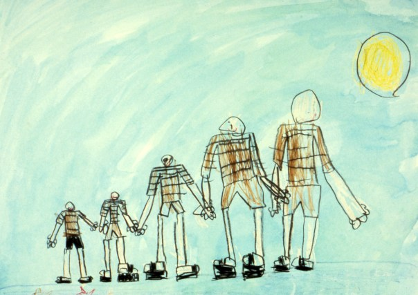 Childs sketch of five family members ranging from small to large