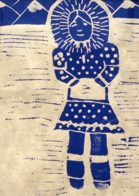 Woodblock print of an Eskimo girl