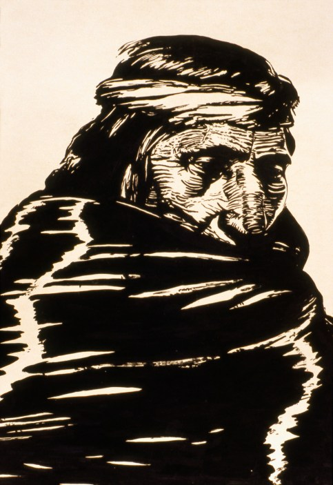 Painting of an American Indian wrapped in his blanket