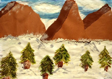 Painting of a mountain range and pine trees